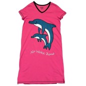 LazyOne Womens No Wake Zone Dolphin Nightshirt V Neck