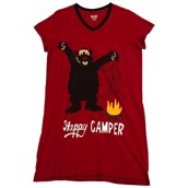 LazyOne Womens Happy Camper Nightshirt V Neck