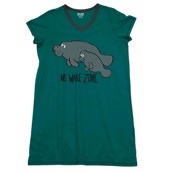 LazyOne Womens No Wake Zone Manatee Nightshirt V Neck
