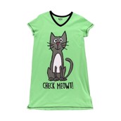 LazyOne Womens Check Meowt! Nightshirt V Neck