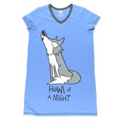 LazyOne Womens Howl of a Night Nightshirt V Neck