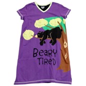 LazyOne Womens Beary Tired Nightshirt V Neck