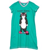 LazyOne Womens Feline Sleepy Nightshirt V Neck