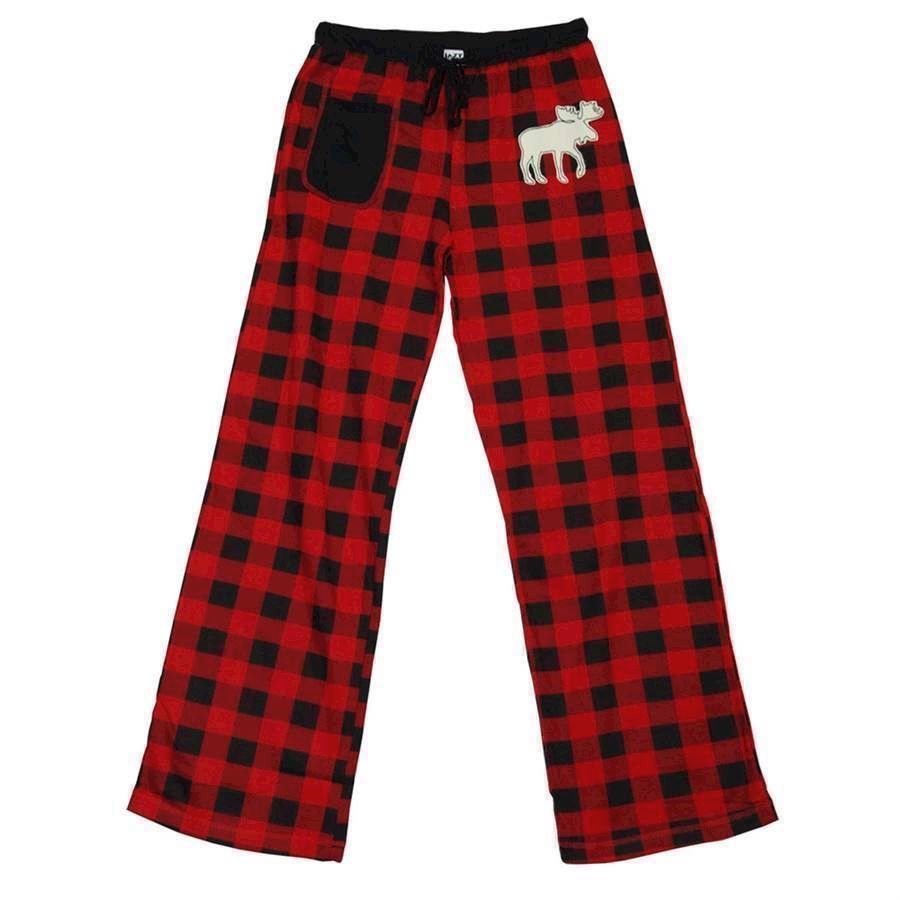 LazyOne Womens Moose Plaid Fitted PJ Trousers