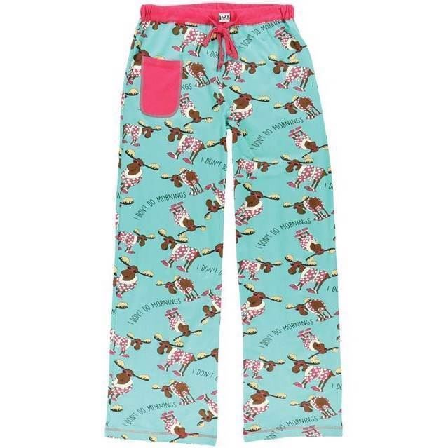LazyOne Womens Fitted Don\'t Do Mornings Moose PJ Trousers