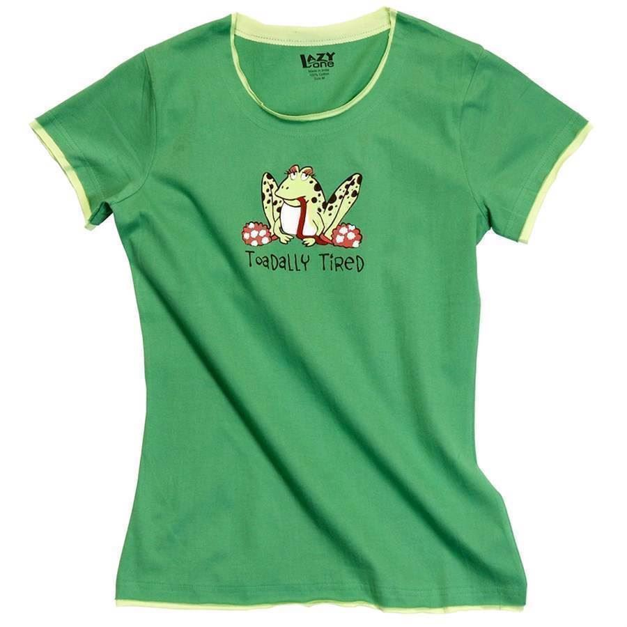 LazyOne Womens Toadally Tired Fitted PJ T Shirt