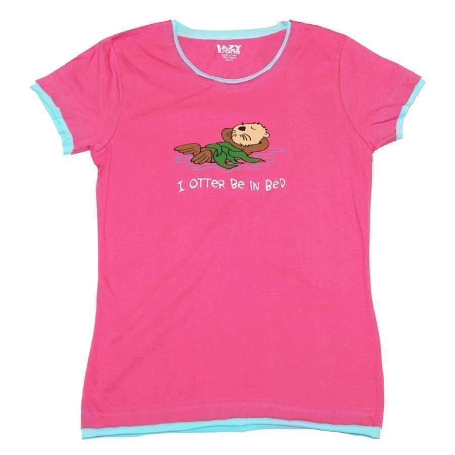 LazyOne Womens I Otter Be in Bed Fitted PJ T Shirt