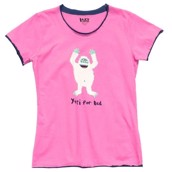 LazyOne Womens Yeti for Bed Fitted PJ T Shirt