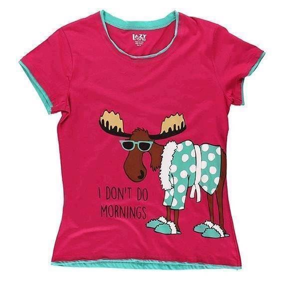 LazyOne Womens Dont Do Mornings Moose Fitted PJ T Shirt