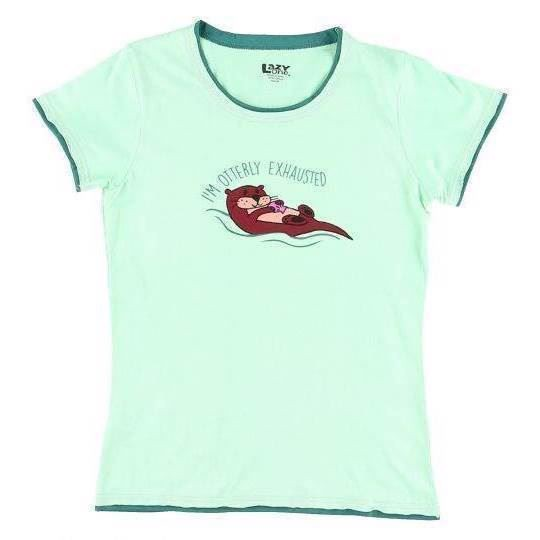 LazyOne Womens Otterly Exhausted Fitted PJ T Shirt