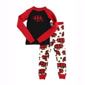LazyOne Boys Allover Bear Check Kids PJ Set Long Sleeve