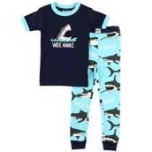 LazyOne Boys Wide Awake Shark Kids PJ Set Short Sleeve