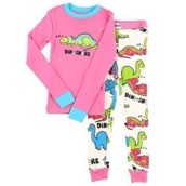 LazyOne Girls Dino-Snore Kids PJ Set Long Sleeve