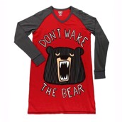 LazyOne Womens Don't wake the Bear Long Sleeve Nightshirt V-neck