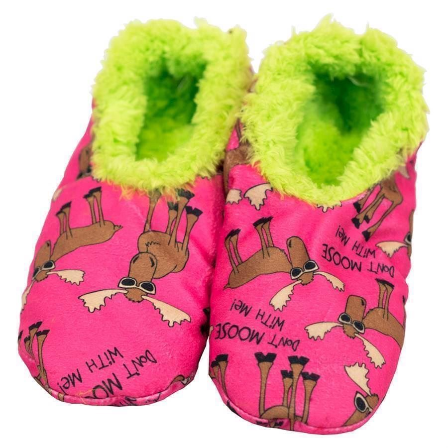 Don´t Moose with Me Fuzzy Feet Slippers, Adult Large/XL