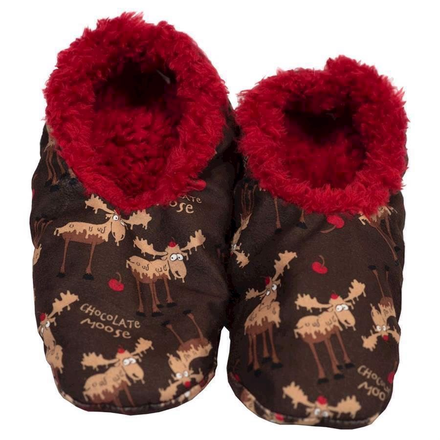 Chocolate Moose Fuzzy Feet Slippers, Adult Large/XL