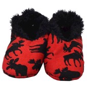 LazyOne Classic Moose Red Kids Fuzzy Feet Slippers