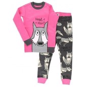 LazyOne Girls Howl of a Night Wolf Kids PJ Set Short Sleeve