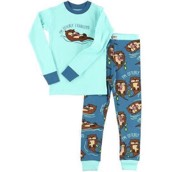 LazyOne Unisex Otterly Exhausted Kids PJ Set Long Sleeve