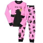 LazyOne Girls Bear Hug Kids PJ Set Long Sleeve
