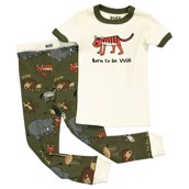LazyOne Unisex Born to be Wild Kids PJ Set Short Sleeve