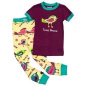 LazyOne Girls Tweet Dreams Kids PJ Set Short Sleeve
