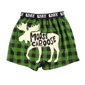 LazyOne Moose Caboose Plaid Mens Boxer Shorts