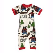 LazyOne Sawing Logs Infant PJ Rompers