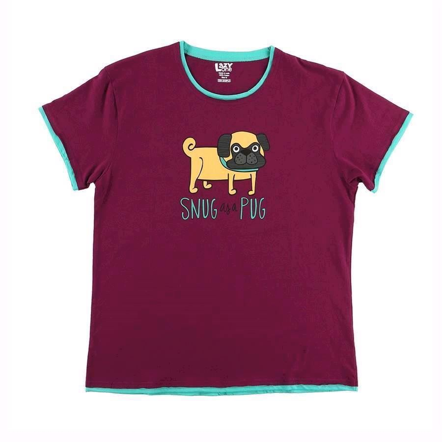 LazyOne Womens Snug as a Pug PJ TShirt