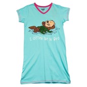 LazyOne Womens I Otter Be in Bed Nightshirt V Neck